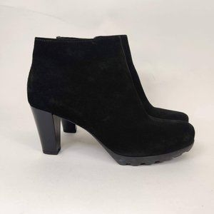 NEW La Canadienne Black Leather Chunky Ankle Boots